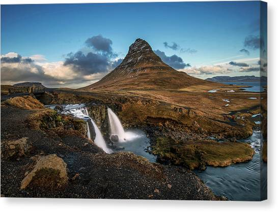 Canvas Print featuring the photograph Kirkjufellsfoss Waterfall And Kirkjufell Mountain, Iceland by Pradeep Raja Prints