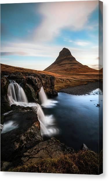Reindeer Canvas Print - Kirkjufellsfoss Waterfalls Iceland by Larry Marshall
