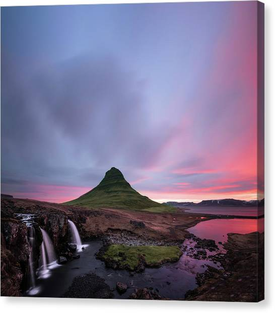 Waterfalls Canvas Print - Kirkjufellsfoss Waterfalls Iceland Square Version by Larry Marshall