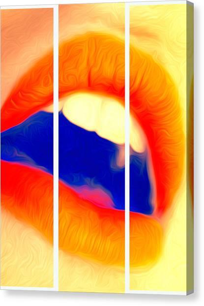 Kiss Me-triptych Canvas Print