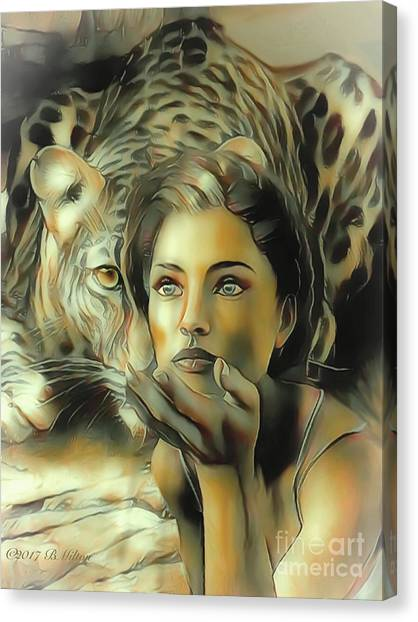Kiss Of The Leopard Woman Canvas Print