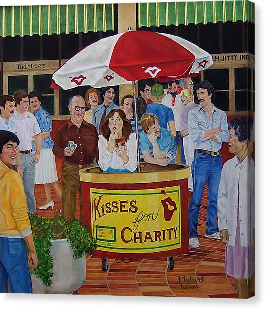 Kisses For Charity Canvas Print by Michael Lewis