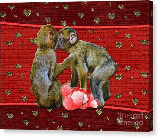 Kissing Chimpanzees Hearts Canvas Print