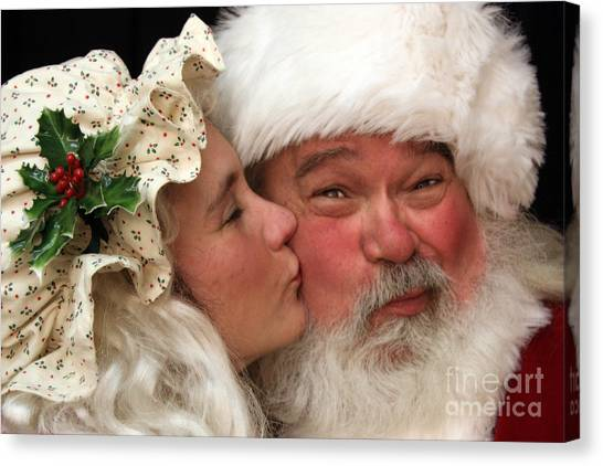 Kissing Santa Claus Canvas Print