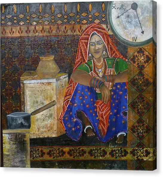 Kitchen Flower Canvas Print by Fehmida Haider
