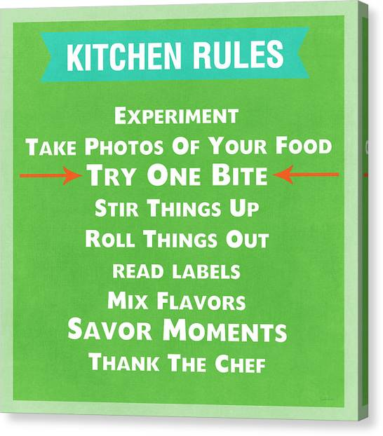 Cooking Canvas Print - Kitchen Rules by Linda Woods