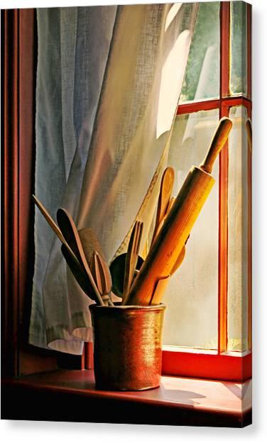 Crock Canvas Print - Kitchen Utensils - Window by Nikolyn McDonald