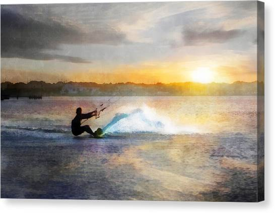 Kite Boarding At Sunset Canvas Print