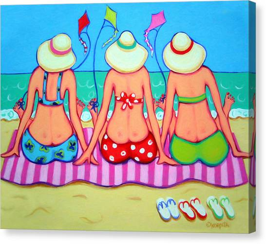 Kite Flying 101 - Girlfriends On Beach Canvas Print