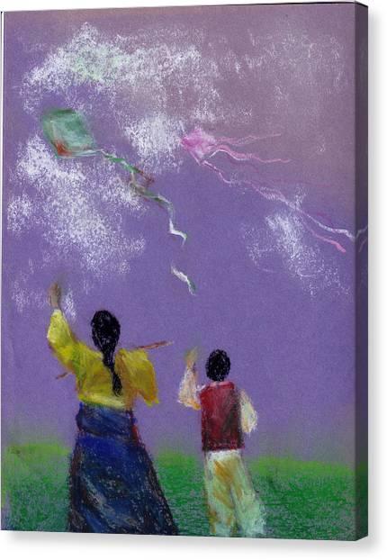 Kite Flying Canvas Print by Mui-Joo Wee