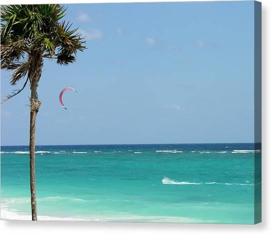 Kitesurfing The Caribbean Canvas Print