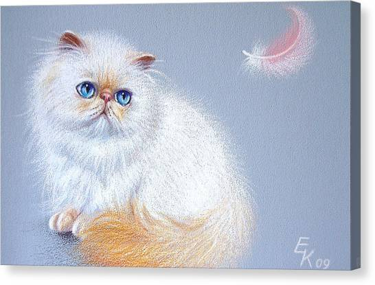 Kitten And Feather 2 Canvas Print