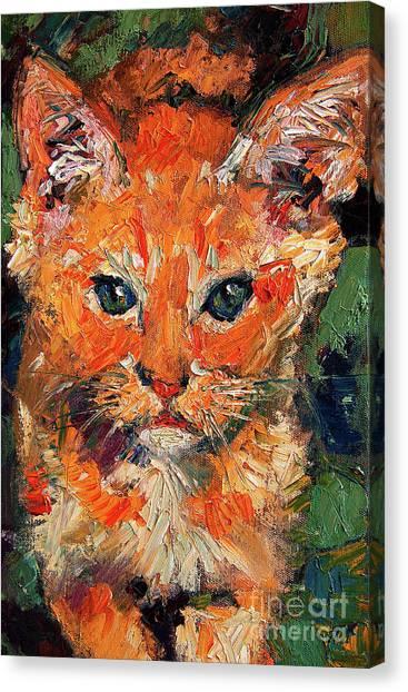 Kitten Orange Tabby Oil Painting Canvas Print