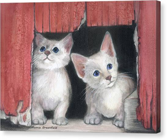 Kittens And Red Barn Canvas Print