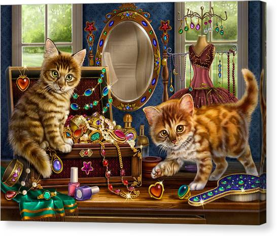 Kittens With Jewelry Box Canvas Print