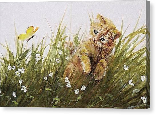 Kitty And Butterfly Canvas Print