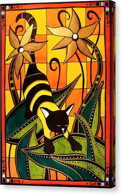Kitty Bee - Cat Art By Dora Hathazi Mendes Canvas Print