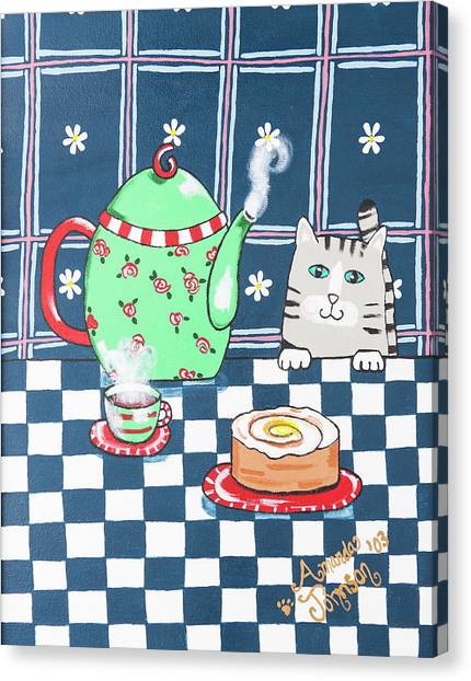 Kitty Cat Tea Time Canvas Print