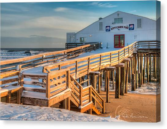 Kitty Hawk Pier In Snow 6652 Canvas Print