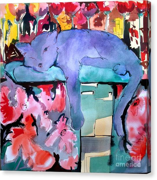 Canvas Print - Kitty In Bloom by Jane Ferguson