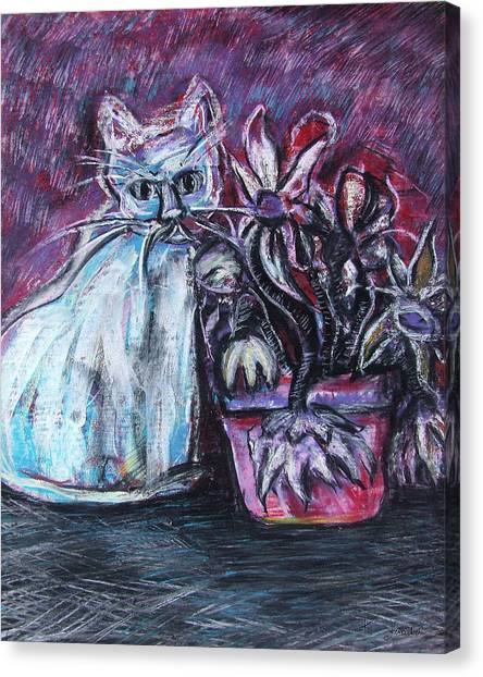 Kitty With Flowers Canvas Print