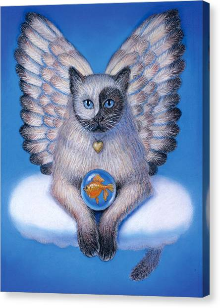 Goldfish Canvas Print - Kitty Yin Yang- Cat Angel by Sue Halstenberg