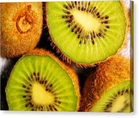 Kiwis Canvas Print - Kiwi Fruit by Nancy Mueller