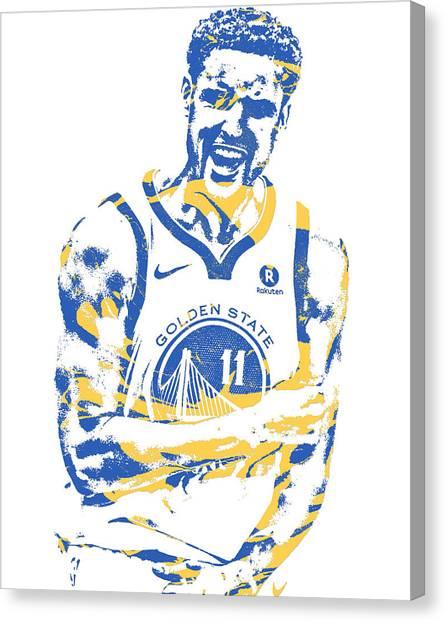 Golden State Warriors Canvas Print - Klay Thompson Golden State Warriors Pixel Art 25 by Joe Hamilton