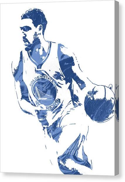 Golden State Warriors Canvas Print - Klay Thompson Golden State Warriors Pixel Art 3 by Joe Hamilton