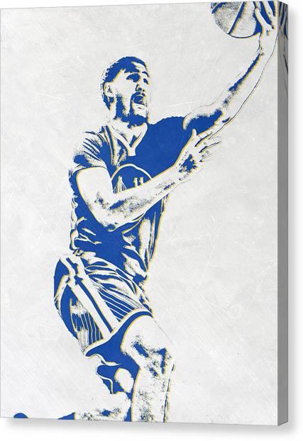 Golden State Warriors Canvas Print - Klay Thompson Golden State Warriors Pixel Art by Joe Hamilton