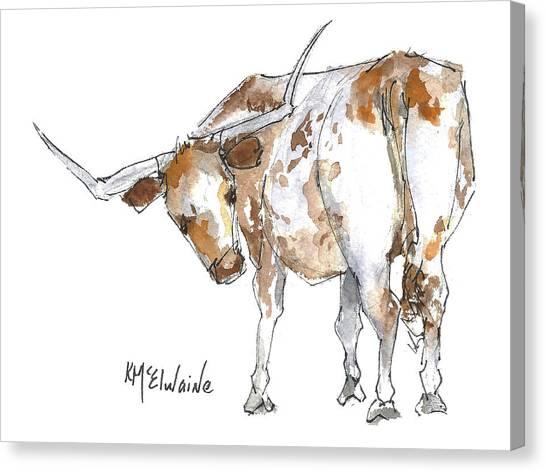 Kmcelwaine Logo Longhorn, Ollie, Texas Longhorn Art Print,watercolor Cow Painting, Whimsical, Canvas Print