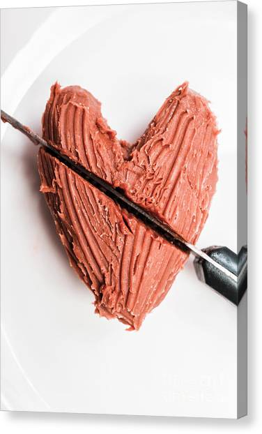 Medicine Canvas Print - Knife Cutting Heart Shape Chocolate On Plate by Jorgo Photography - Wall Art Gallery