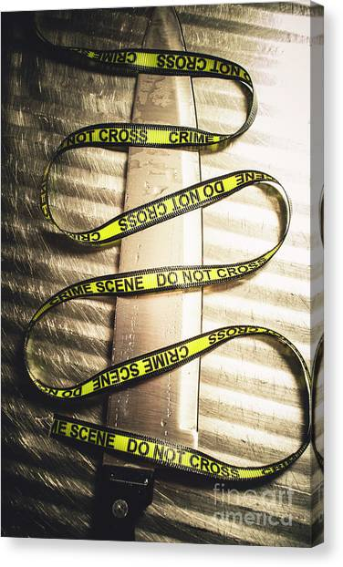 Caution Canvas Print - Knife With Crime Scene Ribbon On Metal Surface by Jorgo Photography - Wall Art Gallery