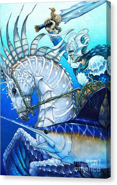 Seahorses Canvas Print - Knight Of Swords by Stanley Morrison