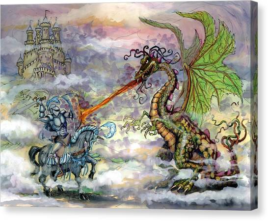 Fantasy Canvas Print - Knights N Dragons by Kevin Middleton