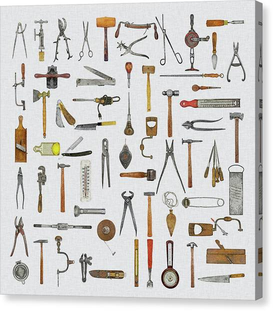 Contractors Canvas Print - Knolled Tools by Cynthia Decker