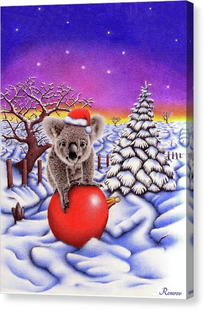 Koala On Christmas Ball Canvas Print