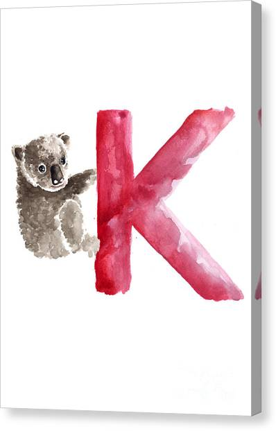 Koala Canvas Print - Koala Watercolor Alphabet Poster by Joanna Szmerdt