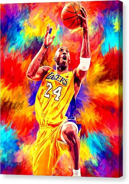 La Lakers Canvas Print - Kobe Bryant Basketball Art Portrait Painting by Andres Ramos