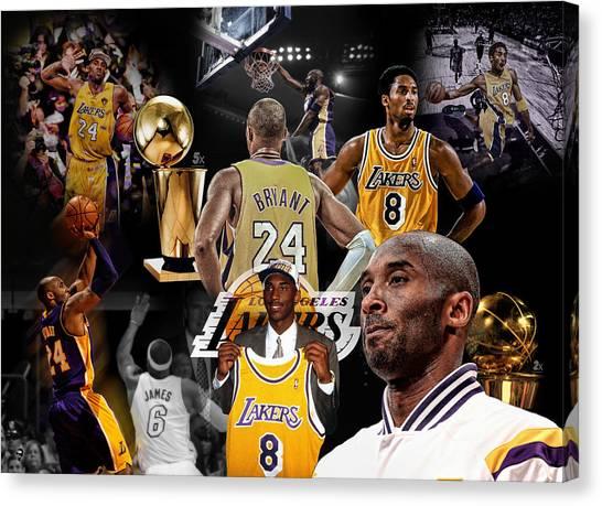 La Lakers Canvas Print - Kobe Bryant Career by Nicholas Legault