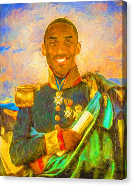 Black Mambas Canvas Print - Kobe Bryant Floor General Digital Painting La Lakers by David Haskett