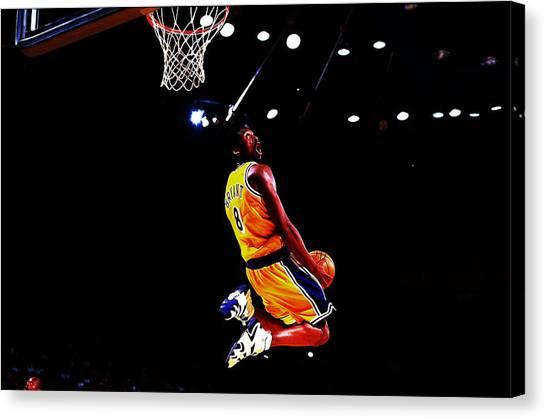 Magic Johnson Canvas Print - Kobe Bryant In Flight 08a by Brian Reaves