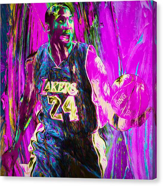 La Lakers Canvas Print - Kobe Bryant La Lakers Digital Painting 3 by David Haskett
