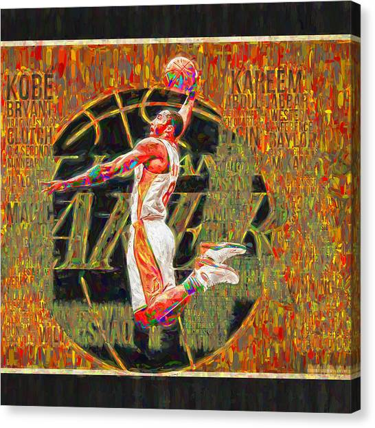 Black Mambas Canvas Print - Kobe Bryant La Lakers Digital Painting 4 by David Haskett II