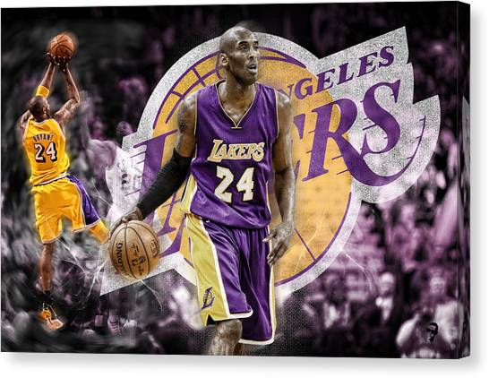 huge selection of 4d91d e6a98 La Lakers Canvas Print - Kobe Bryant, La Lakers by Nicholas Legault