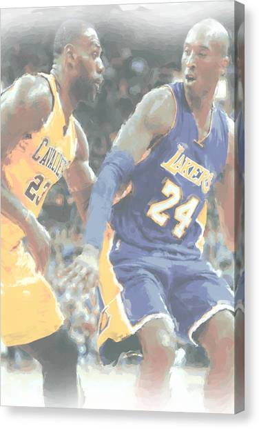 Kobe Bryant Canvas Print - Kobe Bryant Lebron James 2 by Joe Hamilton