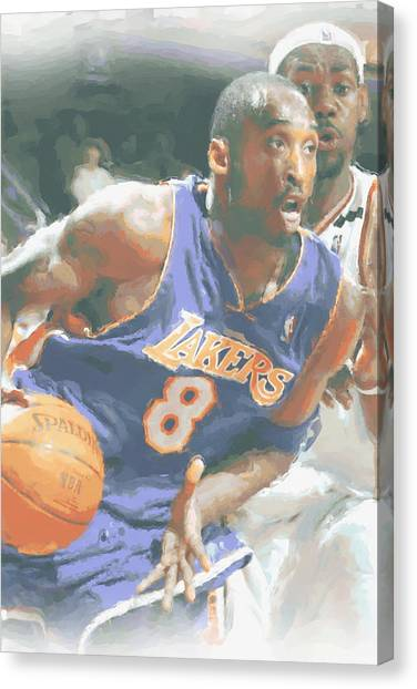 Kobe Bryant Canvas Print - Kobe Bryant Lebron James by Joe Hamilton