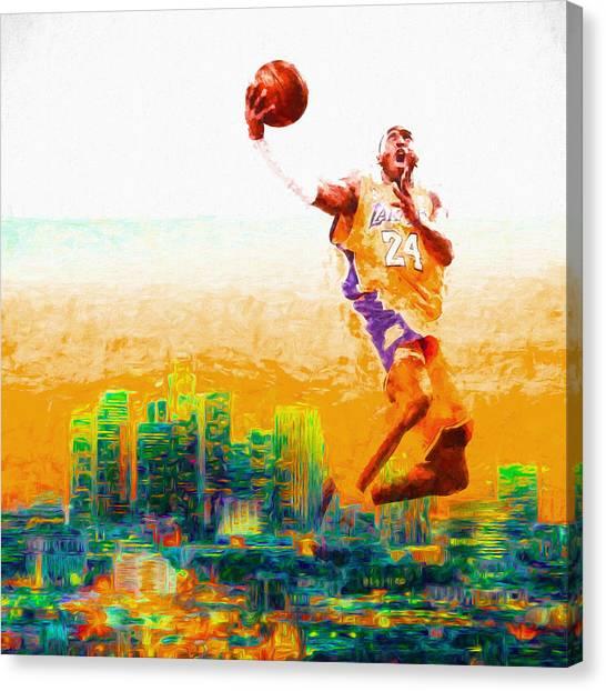 Black Mambas Canvas Print - Kobe Bryant Los Angeles Lakers Digital Painting 1 by David Haskett II