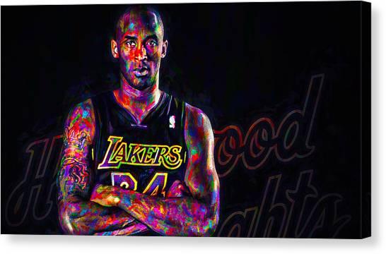 La Lakers Canvas Print - Kobe Bryant Los Angeles Lakers Digital Painting 2 by David Haskett