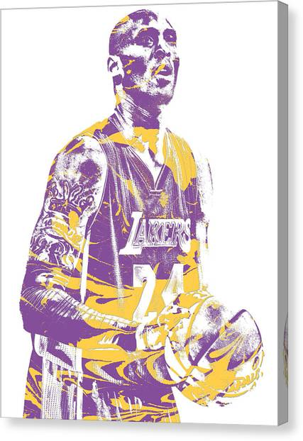 Kobe Bryant Canvas Print - Kobe Bryant Los Angeles Lakers Pixel Art 22 by Joe Hamilton